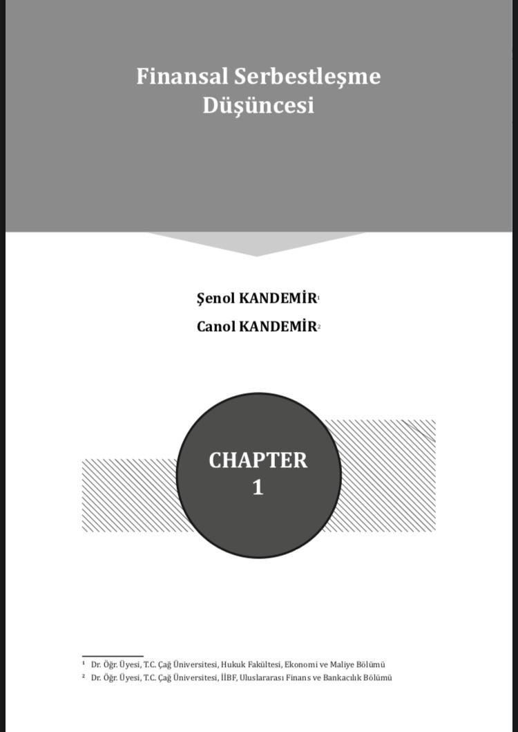 """Fakültemiz Dr. Öğr. Üyesi Şenol Kandemir'in """"Finansal Serbestleşme Düşüncesi"""" başlıklı çalışması yayınlandı."""