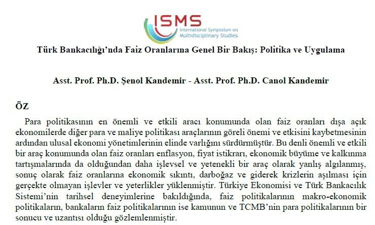 Dr. Öğretim Üyesi Şenol Kandemir, 16-17 Kasım 2018 tarihlerinde Ankara'da düzenlenenV. Uluslararası Multidisipliner Çalışmaları Sempozyumuna bildirisiyle katıldı.